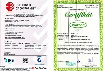 Certifikaty IFS a Biokont